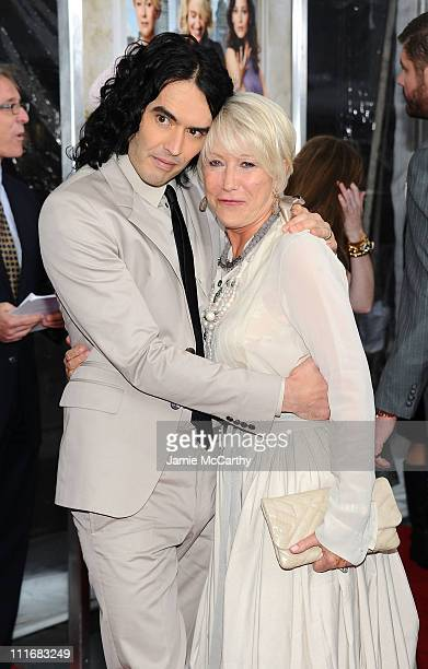 Actors Russell Brand and Helen Mirren attend the New York premiere of 'Arthur' at Ziegfeld Theatre on April 5 2011 in New York City
