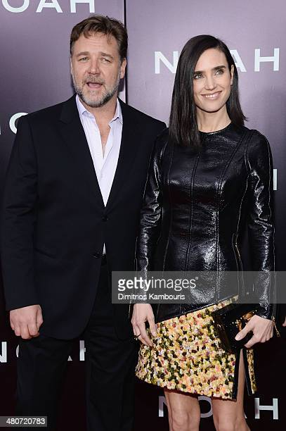 Actors Russell Crowe and Jennifer Connelly attend the 'Noah' New York premiere at Ziegfeld Theatre on March 26 2014 in New York City