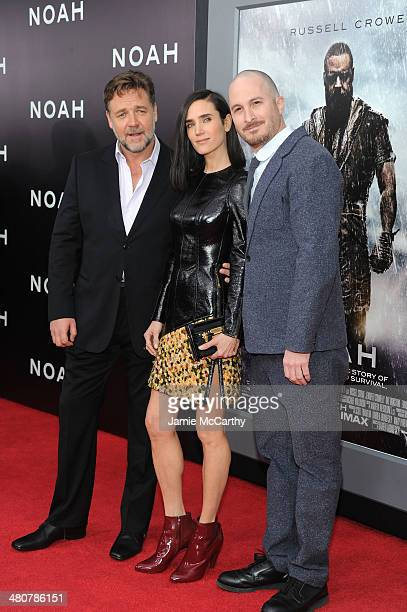 Actors Russell Crowe and Jennifer Connelly pose with Director Darren Aronofsky at the 'Noah' New York premiere at Ziegfeld Theatre on March 26 2014...