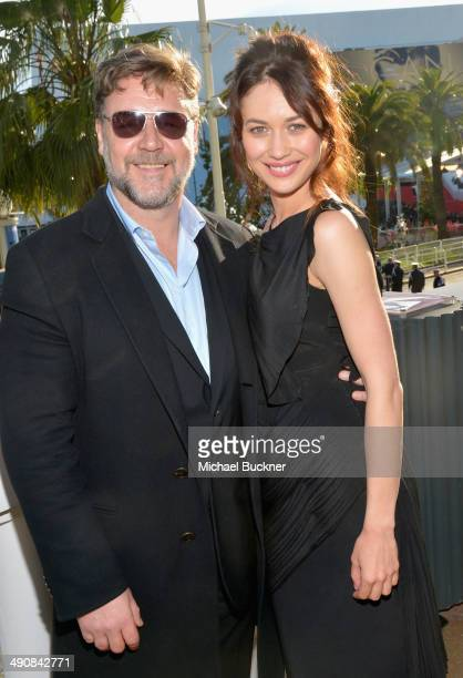 Actors Russell Crowe and Olga Kurylenko attend a presentation of 'The Water Diviner' at the 67th Annual Cannes Film Festival on May 15 2014 in Cannes...