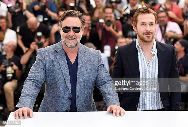 Actors Russell Crowe and Ryan Gosling attend 'The Nice Guys' photocall during the 69th annual Cannes Film Festival at the Palais des Festivals on May...