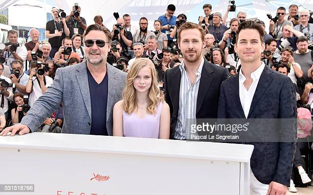 Actors Russell Crowe Angourie Rice Ryan Gosling and Matt Bomer attend 'The Nice Guys' photocall during the 69th annual Cannes Film Festival at the...