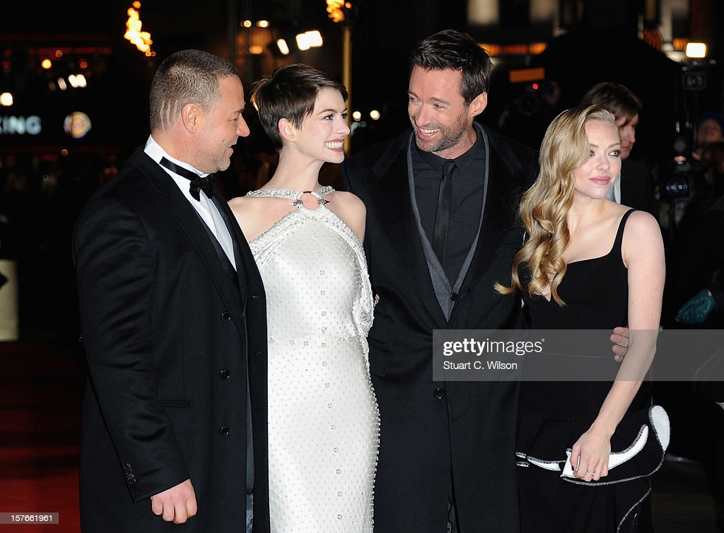 Actors Russell Crowe, Anne Hathaway, Hugh Jackman and Amanda Seyfriend attend the 'Les Miserables' World Premiere at the Odeon Leicester Square on December 5, 2012 in London, England.