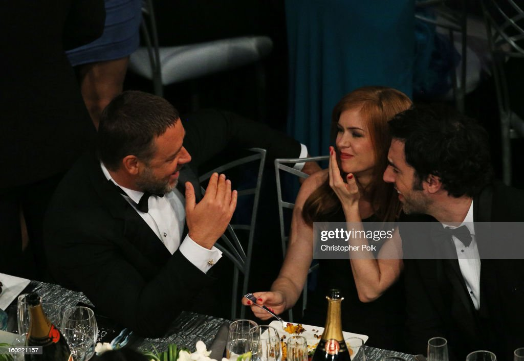 Actors Russell Crowe, Isla Fisher and B.J. Novak attend the 19th Annual Screen Actors Guild Awards at The Shrine Auditorium on January 27, 2013 in Los Angeles, California. (Photo by Christopher Polk/WireImage) 23116_012_1235.JPG