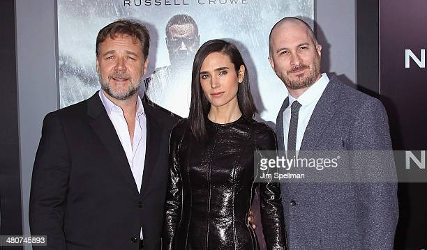 Actors Russell Crowe Jennifer Connelly and director Darren Aronofsky attend the 'Noah' New York Premiere at Ziegfeld Theatre on March 26 2014 in New...