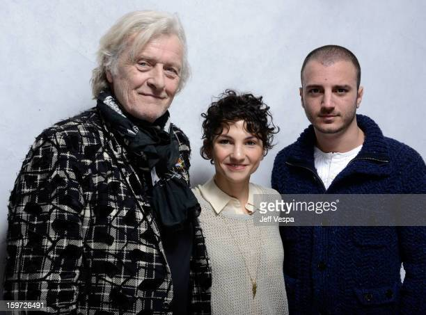 Actors Rutger Hauer Manuela Martelli and Nicolas Vaporidis pose for a portrait during the 2013 Sundance Film Festival at the WireImage Portrait...