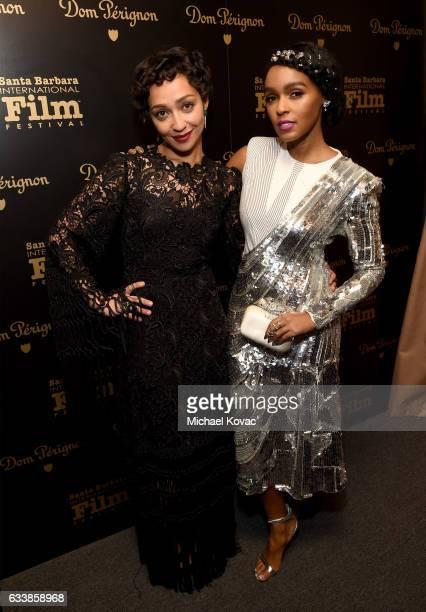 Actors Ruth Negga and Janelle Monae visit the Dom Perignon Lounge before receiving the Virtuosos Award at The Santa Barbara International Film...