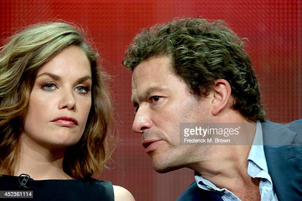 Actors Ruth Wilson and Dominic West speak onstage at the 'The Affair' panel during the SHOWTIME Network portion of the 2014 Summer Television Critics...