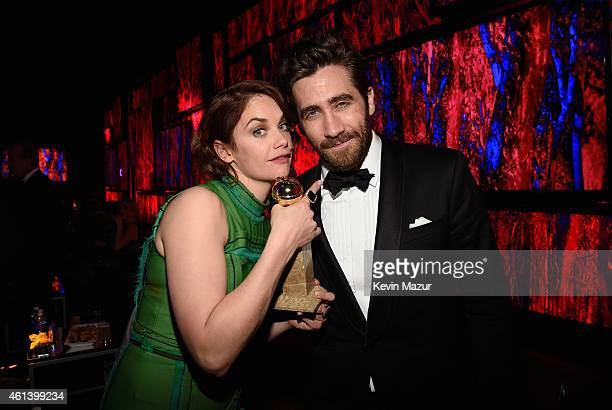 Actors Ruth Wilson and Jake Gyllenhaal attend the 2015 InStyle And Warner Bros 72nd Annual Golden Globe Awards PostParty at The Beverly Hilton Hotel...