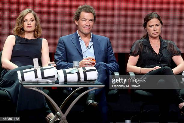 Actors Ruth Wilson Dominic West and Maura Tierney speak onstage at the 'The Affair' panel during the SHOWTIME Network portion of the 2014 Summer...