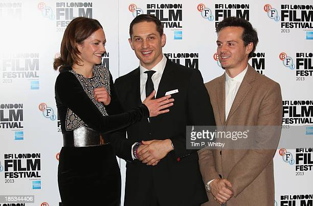 Actors Ruth Wilson Tom Hardy and Andrew Scott attend a screening of 'Locke' during the 57th BFI London Film Festival at Odeon West End on October 18...