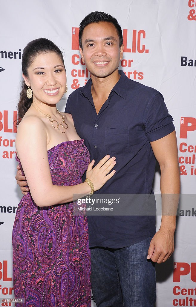 Actors Ruthie Ann Miles and Jose Llana attend The Public Theater's 'Love's Labour's Lost' Opening Nght at Delacorte Theater on August 12, 2013 in New York City.