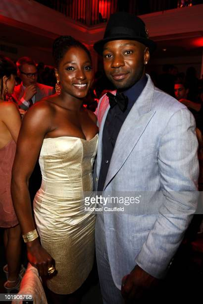 Actors Rutina Wesley and Nelsan Ellis attend HBO's 'True Blood' Season 3 premiere after party held at Boulevard3 on June 8 2010 in Hollywood...