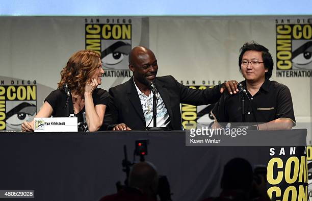 Actors Rya Kihlstedt Jimmy JeanLouis and Masi Oka speak onstage at the 'Heroes Reborn' exclusive extended trailer and panel during ComicCon...