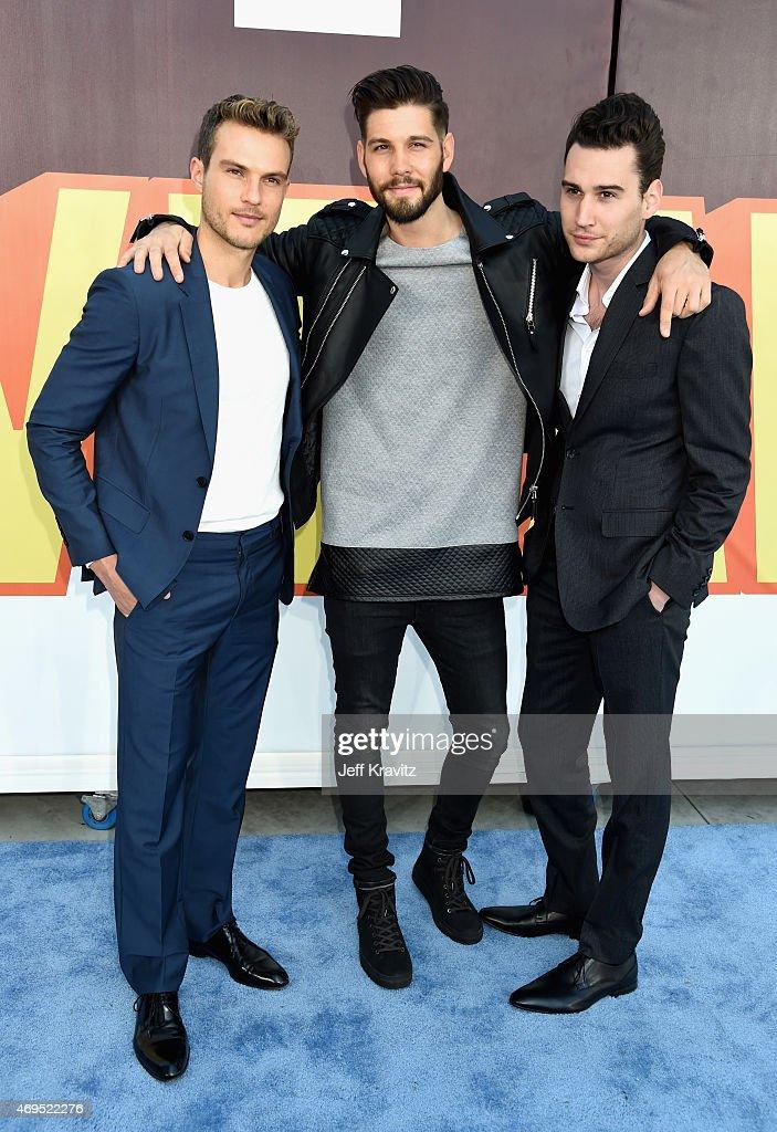 Actors Ryan Cooper Casey Jon Deidrick and John Garet Stoker attend The 2015 MTV Movie Awards at Nokia Theatre LA Live on April 12 2015 in Los Angeles...