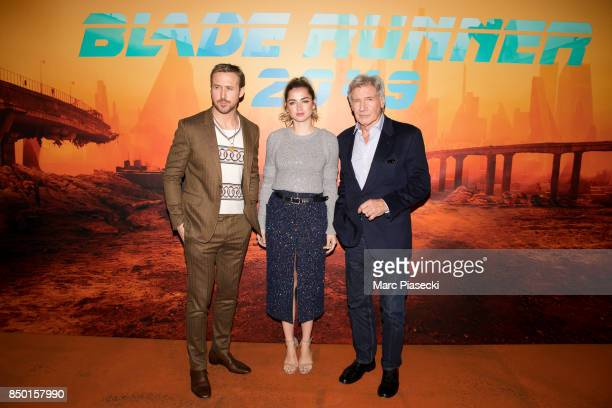 Actors Ryan Gosling Ana de Armas and Harrison Ford attend the 'Blade Runner 2049' photocall at Hotel Le Bristol on September 20 2017 in Paris France