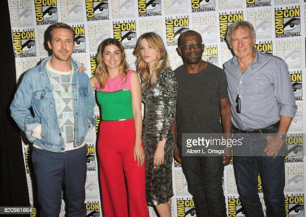 Actors Ryan Gosling Ana de Armas Sylvia Hoeks Lennie James and Harrison Ford attend the Warner Bros Pictures 'Blade Runner 2049' Presentation during...