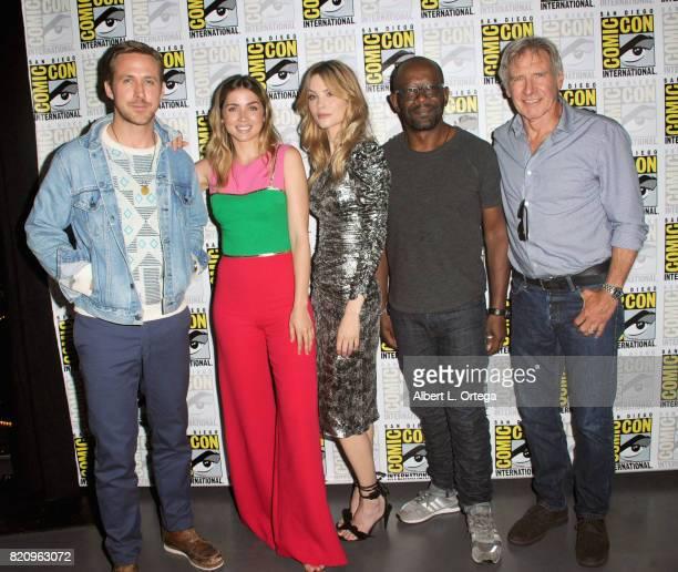 Actors Ryan Gosling Ana de Armas Sylvia Hoeks Lennie James and Harrison Ford attend the Warner Bros Pictures 'Blade Runner 2049' Presentation during...