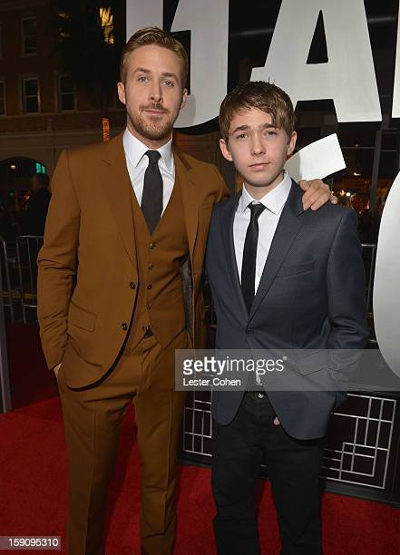 Actors Ryan Gosling and Austin Abrams arrive at the 'Gangster Squad' premiere at Grauman's Chinese Theatre on January 7 2013 in Hollywood California