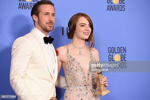 Actors Ryan Gosling and Emma Stone winners of the Best Performance by an Actor/Actress in a Motion Picture Comedy or Musical for 'La La Land' pose in...