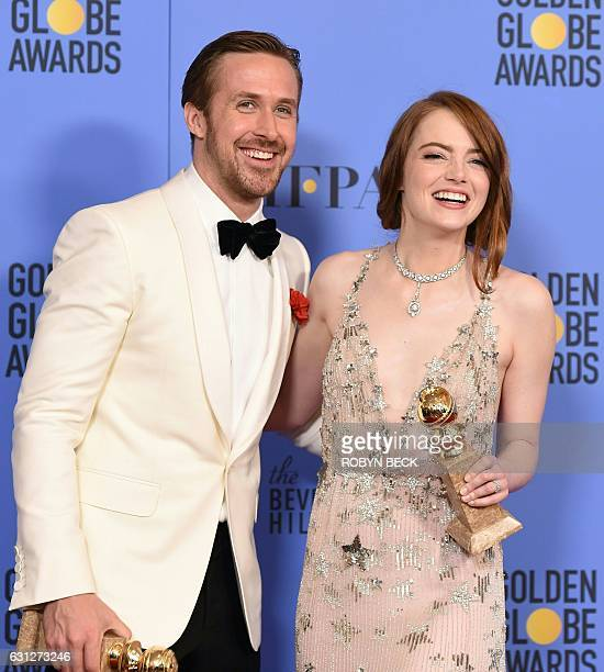 TOPSHOT Actors Ryan Gosling and Emma Stone winners of the Best Performance by an Actor/Actress in a Motion Picture Comedy or Musical for 'La La Land'...