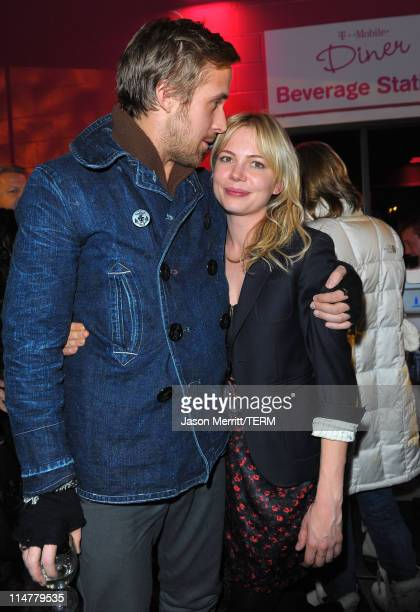 Actors Ryan Gosling and Michelle Williams attend the 'Blue Valentine' party at the TMobile myTouch Diner at Village at the Yard on January 24 2010 in...