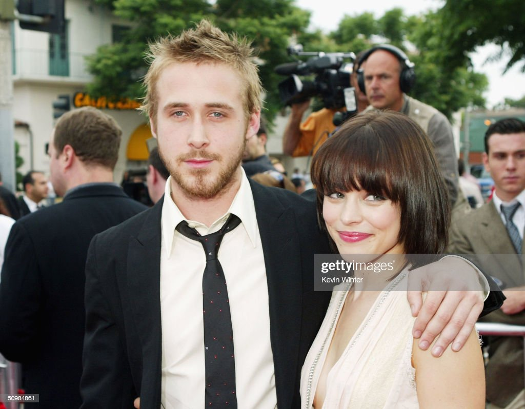 Actors Ryan Gosling (left) and Rachel McAdams arrive at the premiere of New Lines' 'The Notebook' on June 21, 2004 at the Village Theatre, in Los Angeles, California.