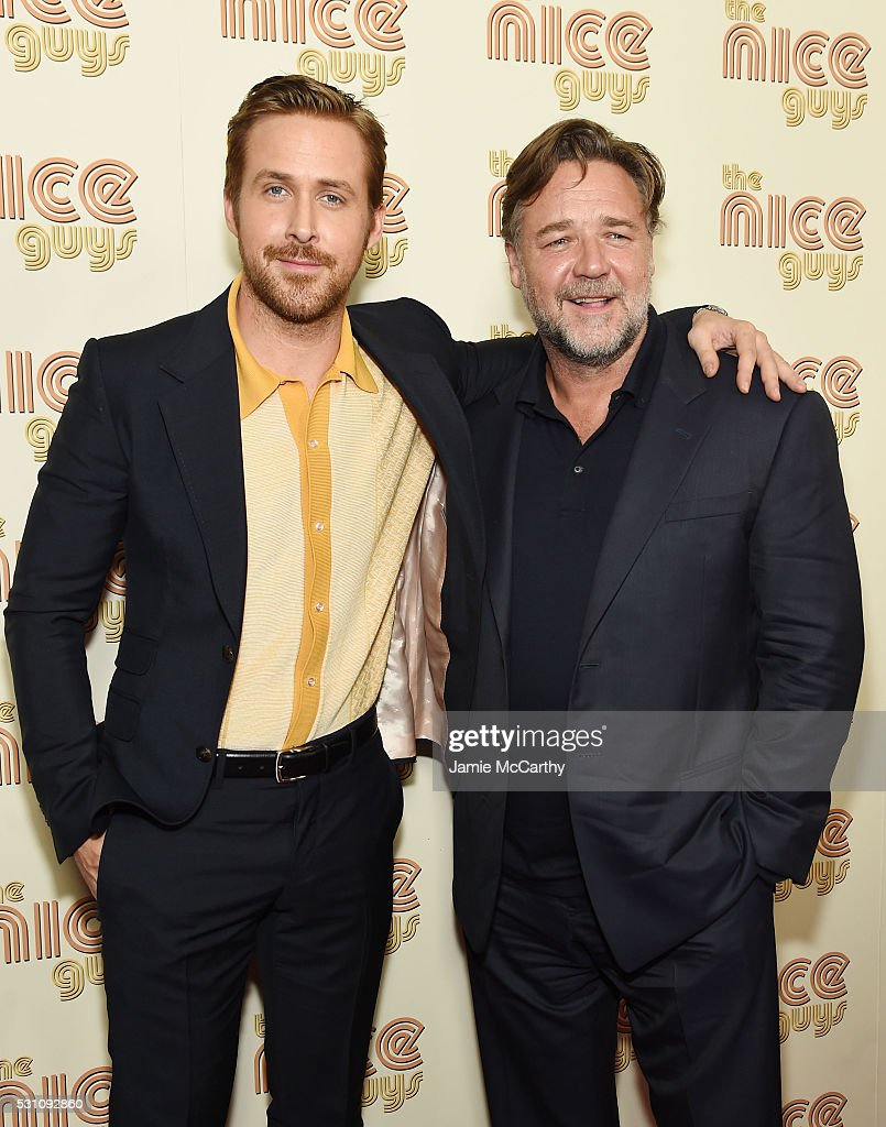 Actors Ryan Gosling and Russell Crowe attend 'The Nice Guys' New York Screening at Metrograph on May 12, 2016 in New York City.