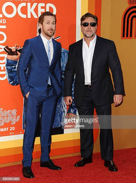 Actors Ryan Gosling and Russell Crowe attend the premiere of 'The Nice Guys' at TCL Chinese Theatre on May 10 2016 in Hollywood California