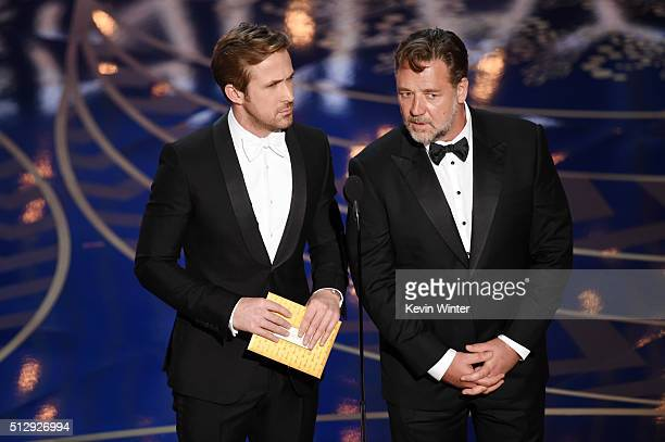 Actors Ryan Gosling and Russell Crowe speak onstage during the 88th Annual Academy Awards at the Dolby Theatre on February 28 2016 in Hollywood...