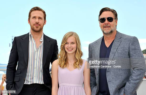 Actors Ryan Gosling Angourie Rice and Russell Crowe attend 'The Nice Guys' photocall during the 69th annual Cannes Film Festival at the Palais des...