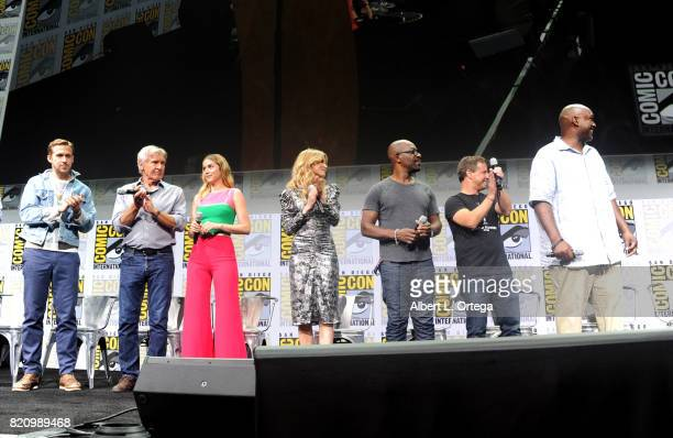 Actors Ryan Gosling Harrison Ford Ana de Armas Sylvia Hoeks and Lennie James and producers Andrew A Kosove and Broderick Johnson attend the Warner...