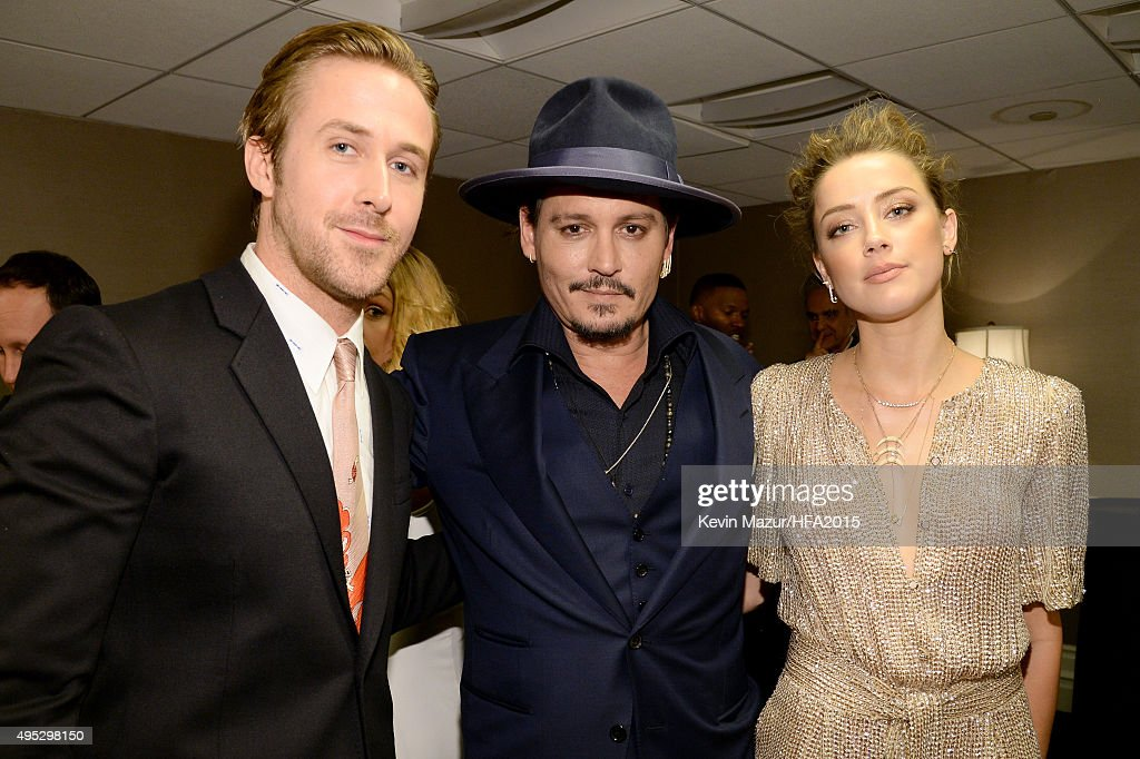 Actors Ryan Gosling Johnny Depp and Amber Heard attend the 19th Annual Hollywood Film Awards at The Beverly Hilton Hotel on November 1 2015 in...