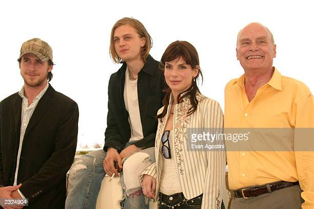 Actors Ryan Gosling Michael Pitt Sandra Bullock and Dir Barbet Schroeder at the 'Murder By Numbers' Photo Call during the 55th Cannes Film Festival...