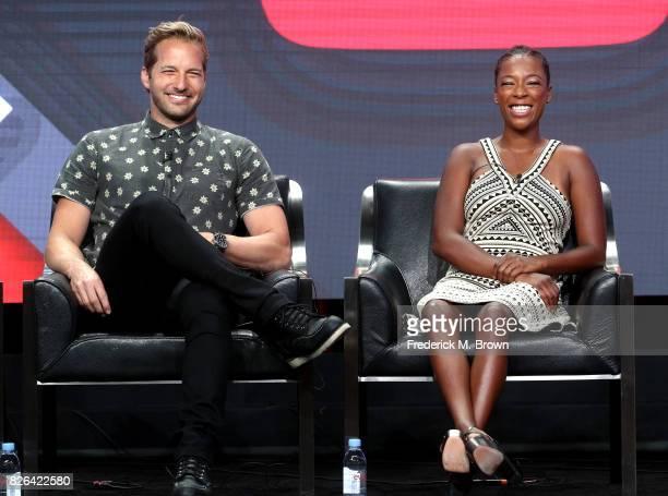 Actors Ryan Hansen and Samira Wiley of 'Ryan Hansen Solves Crimes on Television*' speak onstage during the YouTube Red Originals Presentation portion...