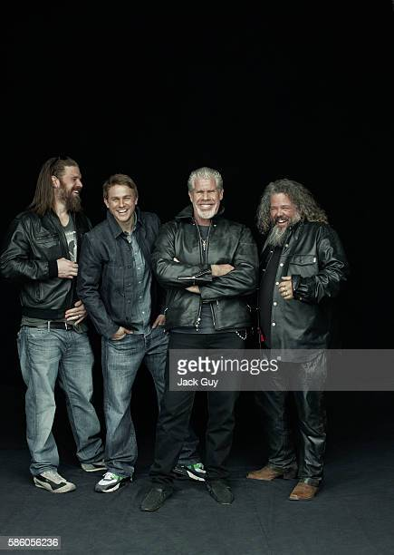 Actors Ryan Hurst Charlie Hunnam Ron Perlman and Mark Boone Junior are photographed for Emmy Magazine on April 26 2012 in Los Angeles California