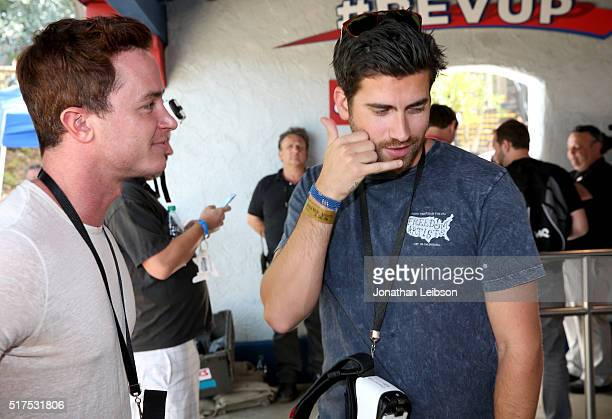 Actors Ryan Kelley and Ryan Rottman attend Samsung debut of the first virtual reality coaster powered by Samsung Gear VR at Six Flags Magic Mountain...