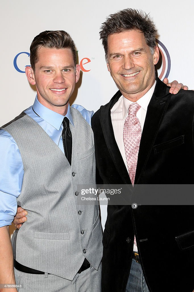 Actors Ryan Lane (L) and D.W. Moffett arrive at the National Association Of The Deaf's 1st annual Breakthrough Awards at Hollywood Roosevelt Hotel on March 13, 2014 in Hollywood, California.