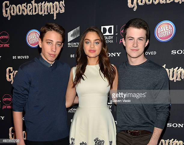 Actors Ryan Lee Odeya Rush and Dylan Minnette attend 'Goosebumps' New York premiere at AMC Empire 25 theater on October 12 2015 in New York City