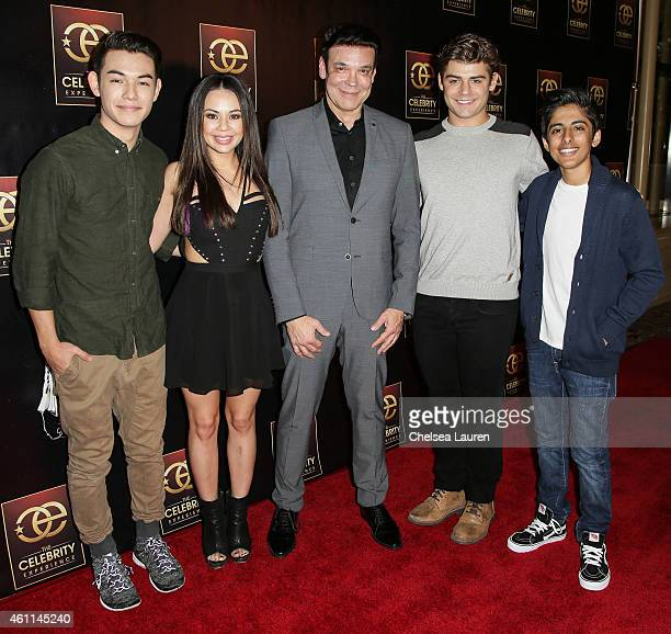 Actors Ryan Potter Janel Parrish producer George Caceres actors Garrett Clayton and Karan Brar attend The Celebrity Experience at Hilton Universal...