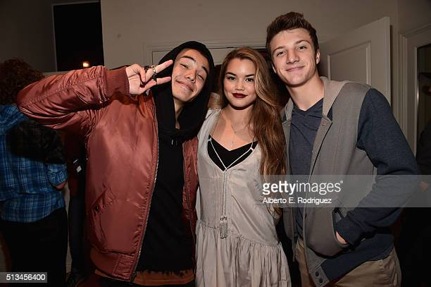 Actors Ryan Potter Paris Berelc and Jake Short attend the premiere party of Disney XD's 'Lab Rats Elite Force' on March 2 2016 in Los Angeles...
