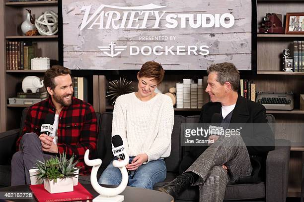 Actors Ryan Reynolds Analeigh Tipton and Ben Mendelsohn attend The Variety Studio At Sundance Presented By Dockers on January 25 2015 in Park City...