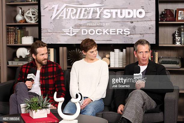 Actors Ryan Reynolds Analeigh Tipton and Ben Mendelsohn speak at The Variety Studio At Sundance Presented By Dockers on January 25 2015 in Park City...