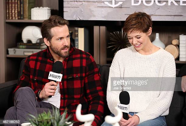 Actors Ryan Reynolds and Analeigh Tipton speak at The Variety Studio At Sundance Presented By Dockers on January 25 2015 in Park City Utah