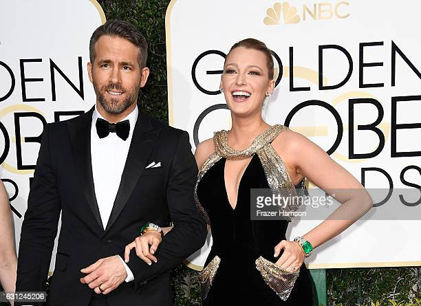 Actors Ryan Reynolds and Blake Lively attend the 74th Annual Golden Globe Awards at The Beverly Hilton Hotel on January 8 2017 in Beverly Hills...