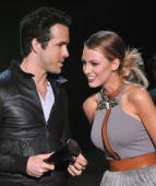 Actors Ryan Reynolds and Blake Lively speak onstage during Spike TV's 'Scream 2010' at The Greek Theatre on October 16 2010 in Los Angeles California