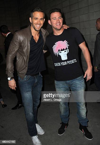 Actors Ryan Reynolds and Channing Tatum pose at the 20th Century FOX panel during ComicCon International 2015 at the San Diego Convention Center on...