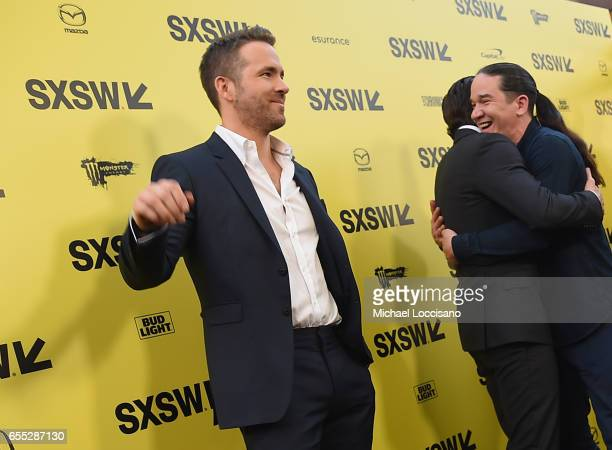 Actors Ryan Reynolds and Jake Gyllenhaal and Director Daniel Espinosa attend the 'Life' premiere during 2017 SXSW Conference and Festivals at the...