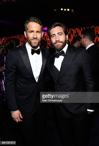 Actors Ryan Reynolds and Jake Gyllenhaal attend The 2017 InStyle and Warner Bros 73rd Annual Golden Globe Awards PostParty at The Beverly Hilton...