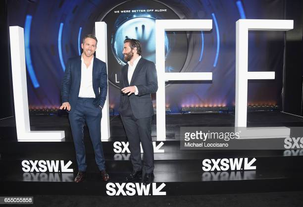 Actors Ryan Reynolds and Jake Gyllenhaal attend the 'Life' premiere during 2017 SXSW Conference and Festivals at the ZACH Theatre on March 18 2017 in...